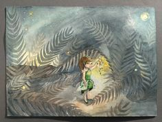 Fern Fairy watercolor ORIGINAL art work Magic lantern by ImbirArt
