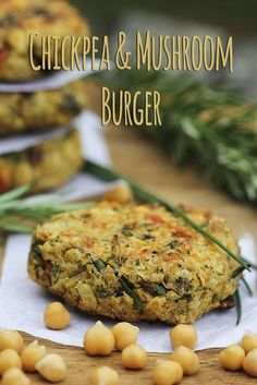 """Here it is. my """"Chickpea (garbonzo bean) & Mushroom Burger"""" recipe. This is an excellent way to enjoy a super healthy, high-protein, vegan, gluten-free meal, whilst using optimal plant-based ingredients. I've created this version to be pleasantly moist Veggie Recipes, Whole Food Recipes, Vegetarian Recipes, Cooking Recipes, Healthy Recipes, Vegetarian Barbecue, Hamburger Recipes, Vegetarian Cooking, Cooking Tips"""