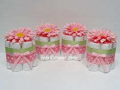 FOUR Pink And Green Flowers Mini Diaper by LanasDiaperCakeShop
