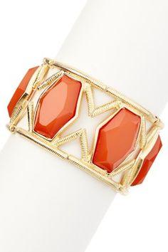Gold & Burnt Orange Royal Jewel Statement Stretch Bracelet