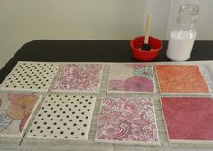 Learn how to make these cute, cheap and easy coasters using ceramic tiles and scrapbook paper. Plus how to make homemade Mod Podge for this project too! Modge Podge Diy, Idées Mod Podge, Mod Podge Crafts, How To Make Coasters, Diy Coasters, Ceramic Coasters, Creative Gifts, Scrapbook Paper, Easy Crafts