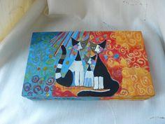 Cat Jewelry Box Jewelry Keepsake Box Treasure by TwoCatsAndAnOwl