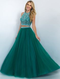 Two-pieces Prom Dress, Green Party Gowns