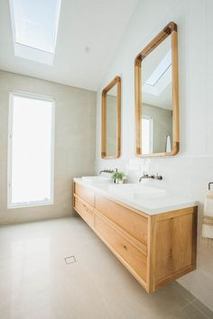 Timber Vanity & Wall Mirrors designed by Kyal & Kara and custom made by Loughlin Furniture. Bathroom Renos, Bathroom Renovations, Bathroom Faucets, Bathroom Furniture, Small Bathroom, Master Bathroom, Bathroom Ideas, Bathroom Cabinets, Modern Bathroom Design
