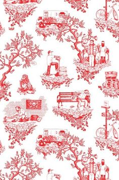 toiles on pinterest toile de jouy toile and toile wallpaper. Black Bedroom Furniture Sets. Home Design Ideas
