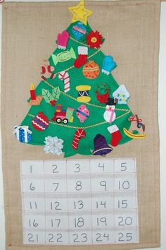 Felt Christmas Holiday Countdown Advent Calendar by bakuma on Etsy Retro Christmas Tree, Christmas Sewing, Felt Christmas, Handmade Christmas, Christmas Holiday, Christmas Ideas, Make An Advent Calendar, Diy Calendar, Holiday Countdown