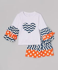 Navy & Orange Chevron Top & Skirt - Toddler & Girls
