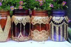 MASON JAR LANTERNS adorned with henna designs. Use them to decorate your house or for parties, wedding decor.. Each one has a different design