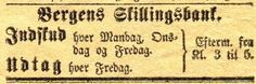 Bergens Skillingsbank  Udtak hver Fredag Fra Bergens Tidende Torsdag 12 Mai 1870