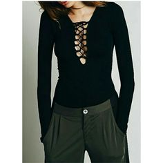 SALE!  NEW! Black Lace Up Fitted Top LAST ONE!   Customer Favorite! Rated 5's   The perfect lace up fitted top. Wear it dressy or casual.  Black Lace Up  Sexy Plunge Longsleeve  Stretchy  Very High Quality  Boutique  Fits Size S/M Direct From Vendor - New Without Tags  Price Is Firm No Exceptions  SALE Was $55 NOW $45  ❌ Absolutely No Trades  ✈ Fast Shipping Boutique  Tops Blouses