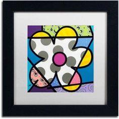 Trademark Fine Art 'Big Flower Iii' Canvas Art by Roberto Rafael, White Matte, Black Frame, Size: 11 x 11, Multicolor