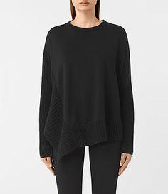 Womens Nia Drape Sweatshirt (Black) - product_image_alt_text_1