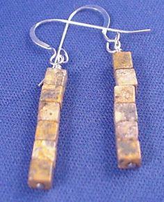 Leopard Jasper Cube Gemstone Dangle Earrings Gemstone Jewelry Clip On Earrings Clip On Earing Gemstone Earrings Jasper Earrings BE1609 - pinned by pin4etsy.com