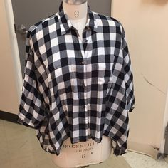 Black And White Checkered Button Down Shirt