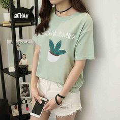 Japanese Summer Fashion Cartoon Letter Printed Women T shirt Casual Loose Harajuku T-shirt Plus Size Short Sleeve T-shirts 41061