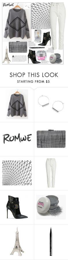 """Romwe.Geometric Pattern Drop Shoulder Sweater"" by natalyapril1976 ❤ liked on Polyvore featuring Sondra Roberts, Everlane, Balmain and NYX"