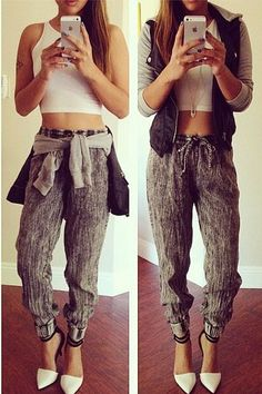 omg love everything about this outfit from colors of aurora! PU hoodie and jogger pants