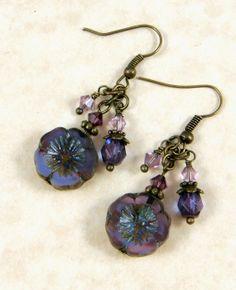 Purple Pansy Flower Earrings Czech Glass and by PurplePansy333