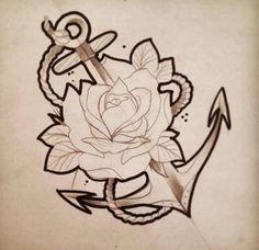 Wobba Jack Tattoo Studio Viterbo Illustrazione Ancora Rosa Tatuaggio