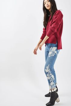 MOTO Embroidered Straight Leg Jeans - Topshop