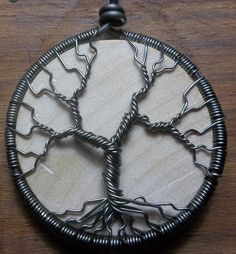 Wire Wrapped Tree of Life with Wooden Disc by alexart on Etsy, $30.00