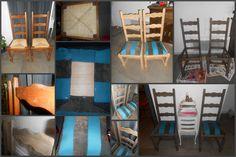 Un petit coup de fraîcheur pour les classiques chaises de bois, dossier haut, assise en paille ... :)