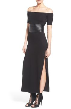 KENDALL + KYLIE Leather Corset Off the Shoulder Maxi Dress available at #Nordstrom
