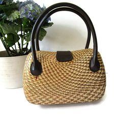 Vintage Straw Handbag by Pia Rossini Small by VintagioStudio