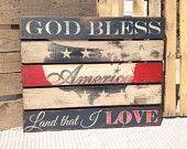 Wooden Sign - American Flag - Pallet wood - Rustic - USA - Red White Blue - Old Glory - Patriotic -