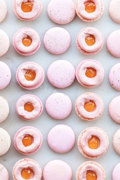 Raspberry Peach Macarons