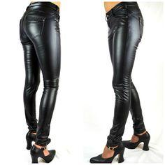 Women'S Trousers Pants Faux-Leather Pants Jeans Denim Tube  206