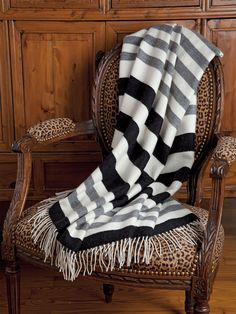 Windermere Alpaca Throw and Blankets. The big attraction here is more than a bold and beautiful design of Black, White and Gray stripes. #SchweitzerLinenPin2Win