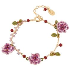 Les Néréides WILD ROSE PINK ROSE WITH GLASS PEARLS EMBRODERIES CHAIN... ($165) ❤ liked on Polyvore featuring jewelry, jewelry bracelets, pink, rose jewelry, les nereides jewelry, leaves jewelry, pink pearl jewelry and leaf jewelry