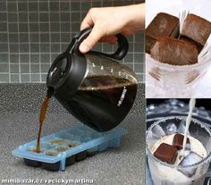 Coffee Ice Cubes for iced coffee.now that's one smart idea. (I've used the coffee ice cubes to flavor vanilla smoothies and protein shakes. Coffee Shop, Iced Coffee, Coffee Drinks, Coffee Lovers, Hot Coffee, Coffee Creamer, Iced Cappuccino, Easy Coffee, Iced Latte