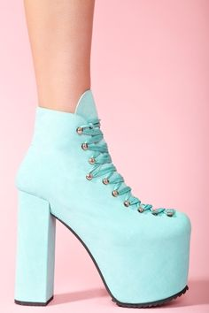 Hellbound Platform Boot - Turquoise in Shoes Platforms at Nasty Gal