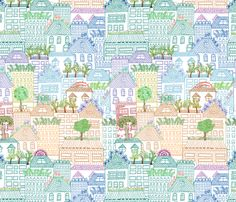 rooftop gardens of San Francisco fabric by jeanne_mcgee on Spoonflower - custom fabric