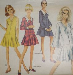 Vintage 60s Simplicity 8287 Drop Waisted Flared Skirt Dress Pattern 30B sz 5 Unc in Collectibles, Sewing (1930-Now), Patterns | eBay