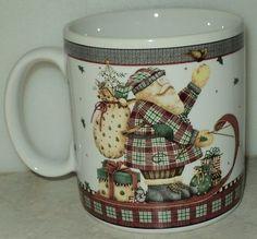 Sakura Debbie Mumm Sledding Characters Santa Christmas Holiday Coffee Cup Mug  - This Item is for sale at LB General Store http://stores.ebay.com/LB-General-Store ~Free Domestic Shipping