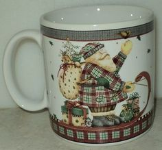 Sakura Debbie Mumm Sledding Characters Santa Christmas Holiday Coffee Cup Mug  - This Item is for sale at LB General Store http://stores.ebay.com/LB-General-Store ~Free Domestic Shipping