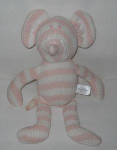 """Angel Dear Sock Mouse Pink Stripe Plush Sweater 12"""" White Sewn Eyes #AngelDear"""
