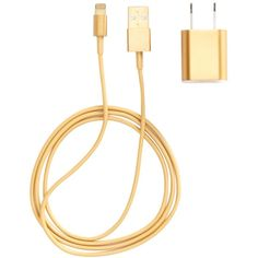 PhunkeeTree Gold Charger for iPhone 5 ($20) ❤ liked on Polyvore featuring electronics, accessories, phone, tech, case and no color