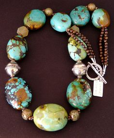 Turquoise Large Oval Necklace with Porcelain Rounds, Carved Jade, Tibetan Silver, Bronzite & Sterling Silver