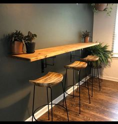 Wall hanging dining table, buffet, breakfast nook with industrial metal turnbuckle brackets Kitchen Bar Counter, Small Kitchen Tables, Kitchen Dining, Kitchen Decor, Small Bar Table, Kitchen Bar Design, Bar Table Design, Bar Counter Design, Kitchen Island Against Wall