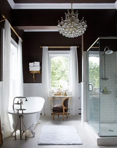 dark walls - glass shower - claw foot tub