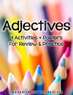Adjectives: Activites, Games, & Posters for Upper Elementary Unique Playing Cards, 4th Grade Ela, Teaching Language Arts, Cut And Paste, Upper Elementary, Teacher Stuff, Students, Posters, Activities
