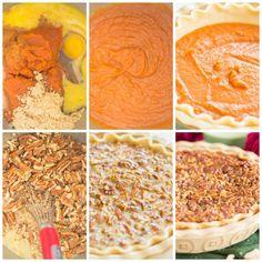 Pecan Pumpkin Pie • The Gold Lining Girl No Bake Pumpkin Cheesecake, Pumpkin Pecan Pie, Pumpkin Pie Recipes, Baked Pumpkin, Pumpkin Dessert, Cream Cheese Bread, Easy Thanksgiving Recipes, Sweet Tarts, Gold