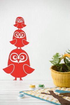 Ferm Living Punainen Stickers Three Owls