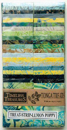 "Timeless Treasures Tonga Batik Treat Strips 2.5"" Lemon Poppy"