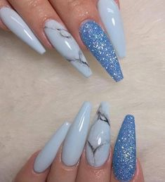 THESE coffin nails are a little long for me but PRETTY! | nail art ideas | unas