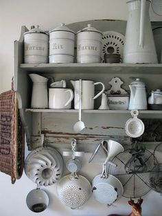 Open Shelves - displaying a vintage enamelware collection
